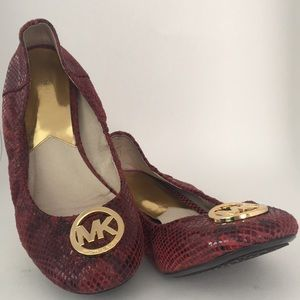 Michael Kors red leather ballet flats sz 9